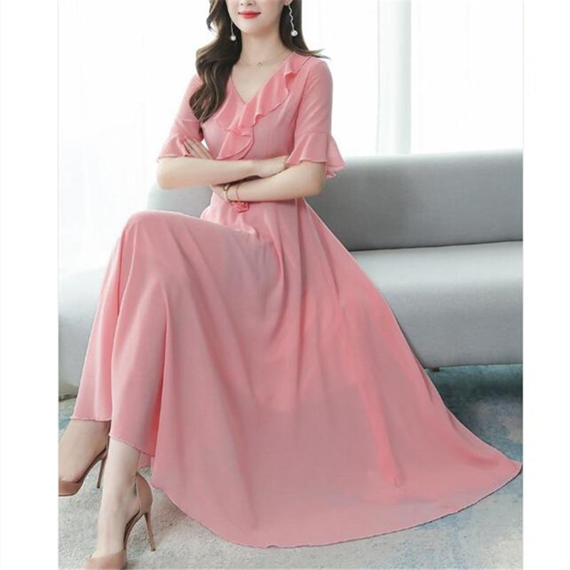 Chiffon-Dress Flared-Sleeves V-Neck Temperament Korean Summer New-Fashion Was Thin Slim