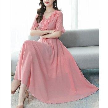 Chiffon dress 2020 Korean summer new fashion V-neck flared sleeves Slim was thin temperament big swing dress 1