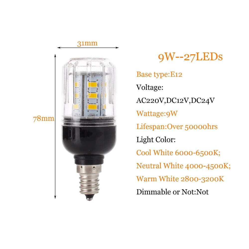 New <font><b>E27</b></font> E14 E12 E26 <font><b>LED</b></font> Corn Bulb Light <font><b>Lamp</b></font> 5730 SMD 9W 27LEDs Lampard Home Lighting Warm Cool Neutral White image
