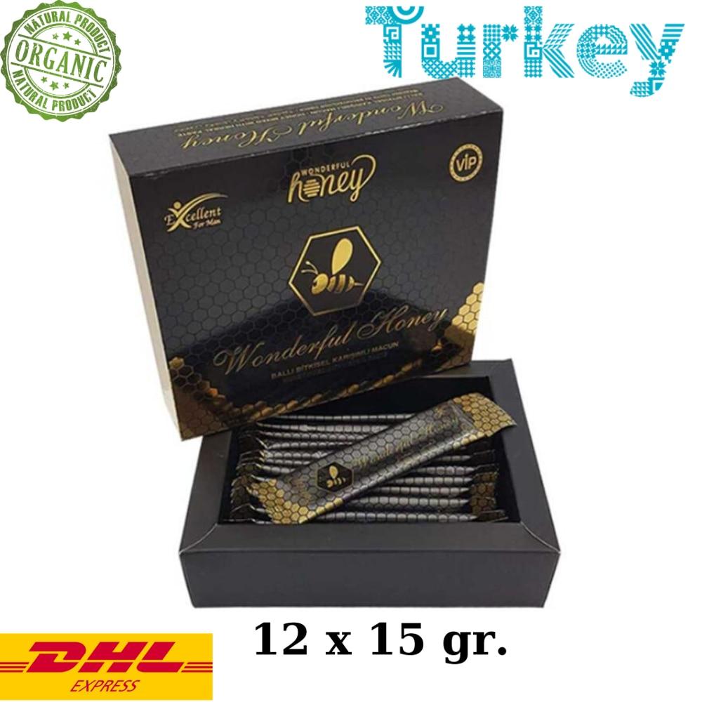 Wonderful Honey Epimedium Turkish Honey Mix Macun Horny Goat Weed Ginseng Herbal Aphrodisiac– Turkish Viagra, 12x15gr.