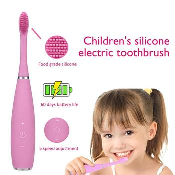 Kids Electric Toothbrush Sonic Toothbrush USB Rechargeable Waterproof Portable Travel Toothbrush Heads Dupont Brush