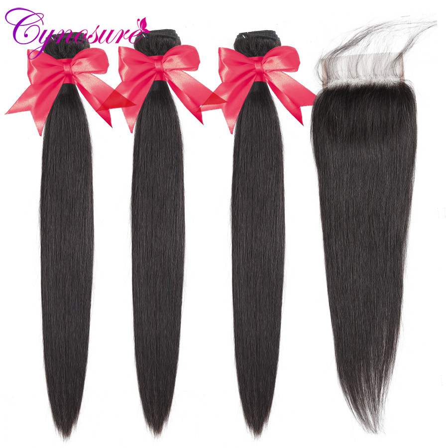 Cynosure Brazilian Straight Hair Weave 3 Bundles With Closure Natural Black Remy Human Hair Bundles With Closure