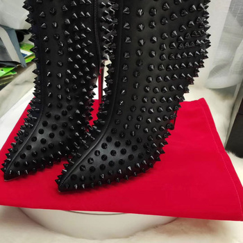 Big Size Sexy Full Studs Stilettos Thin High Heels Pointy Toe Black Leather Women Ankle Boots