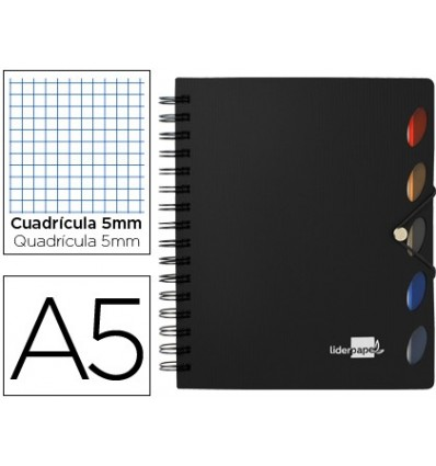 SPIRAL NOTEBOOK LEADERPAPER A5 MICRO EXECUTIVE PLASTIC CAP 100H 80GSM TABLE 5MM 5 SEPARATORS WITH GOMILLA BLACK