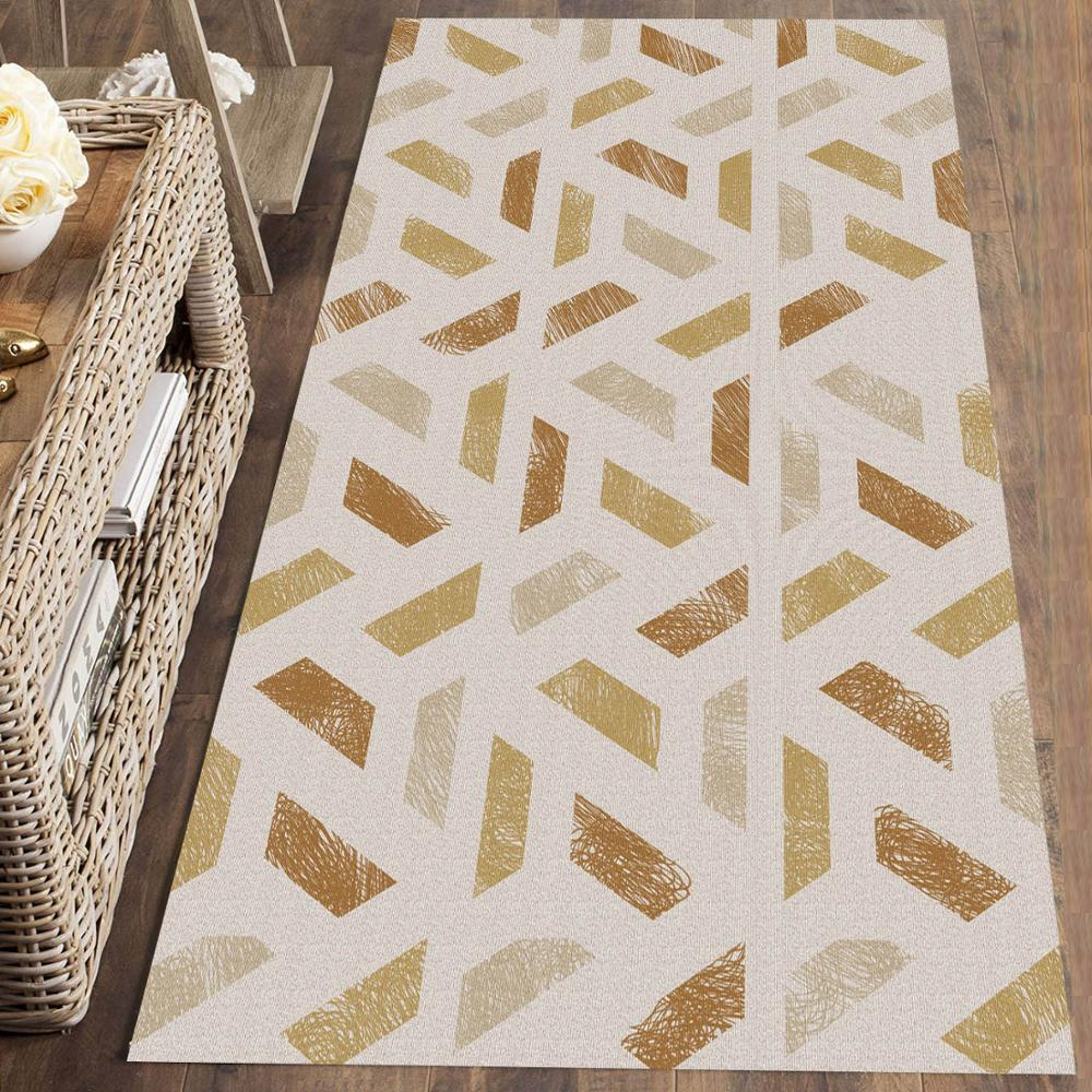 Else Brown Cream Geometric Nordec Scandinav 3d Print Non Slip Microfiber Washable Long Runner Mat Floor Mat Rugs Hallway Carpets