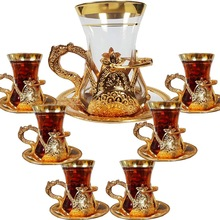 Glass Turkish Tea Cups Set of 6 and Saucers with Handle Arabic Ottoman Decors for Serving and Drinking Housewarming Gift for New