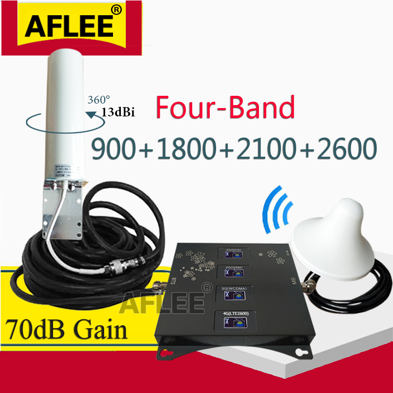 900 1800 2100 2600 Mhz Four-Band 4G Cellular Signal Amplifier Cell Phone GSM Repeater 2G 3G 4G Signal Booster GSM DCS WCDMA LTE