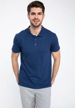 DeFacto Man Knitted Shirt Summer Short Sleeve Blue Mens shirt Cloth Male Smart Casual Polo Shirts J9905AZ19SPIN131-J9905AZ19SP
