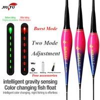 JiuYu inteligente luz Led para pescar flotar Sensor de la gravedad de la Flash pican recordar boya brillante pesca eléctrica inteligente flotar con batería
