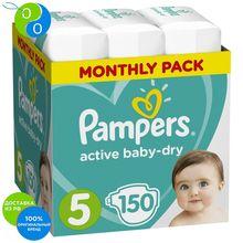Подгузники Pampers Active Baby-Dry 11–16 кг, размер 5, 150шт