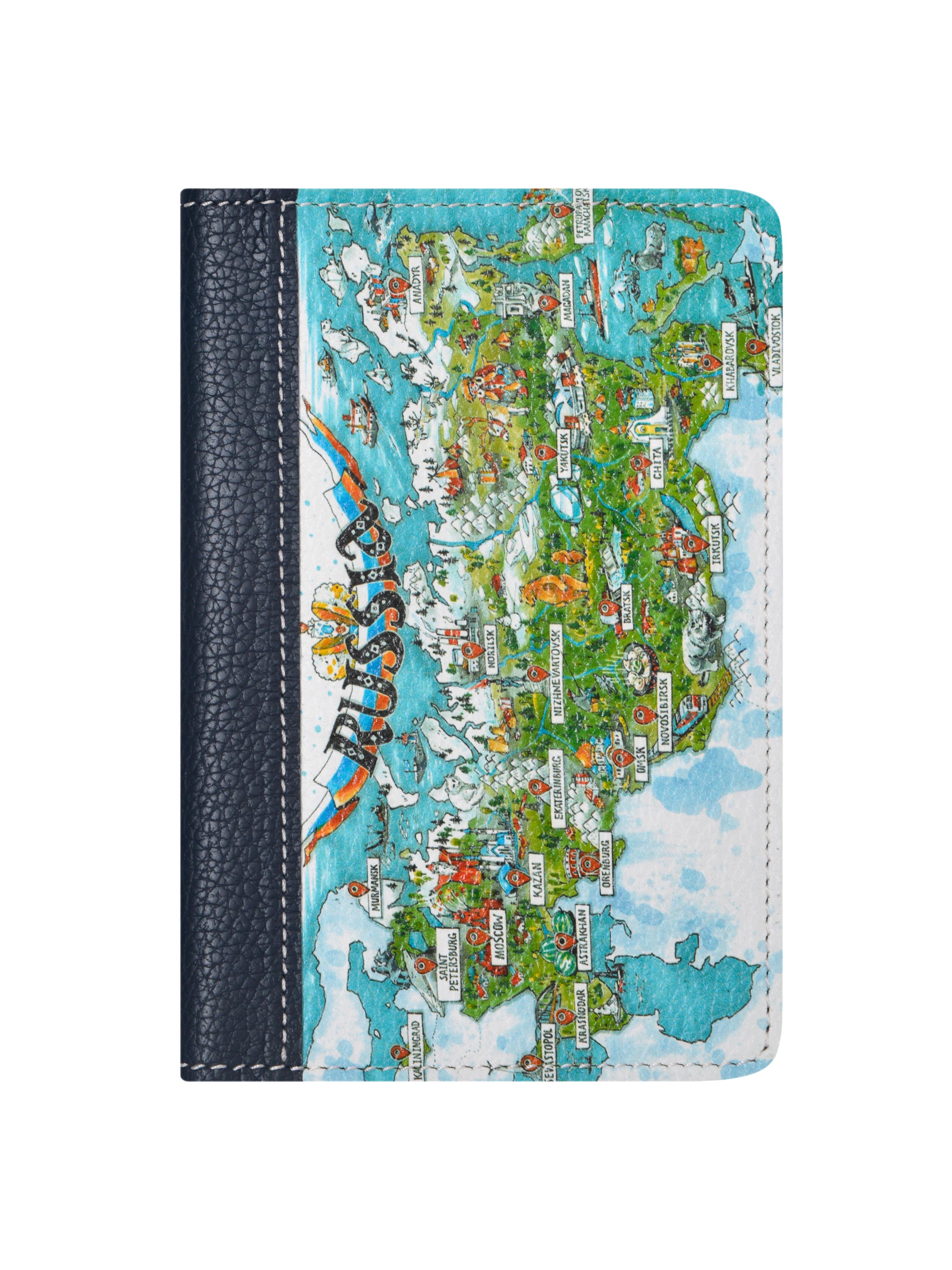 Couverture passeport croquis grande russie, cuir véritable woodsurf visages & lieux, cadeau pour voyageur.