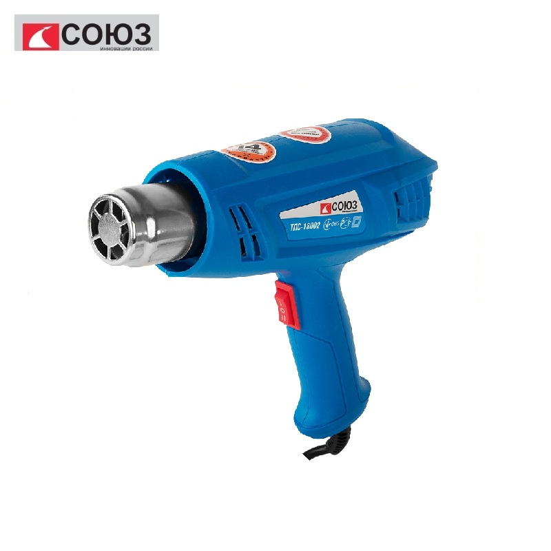 TPS-18002 Hair Dryer Technical Union, 1800 W, 2 steps, 2 nozzles Heating different materials Removing old paint coatings, solder цена и фото