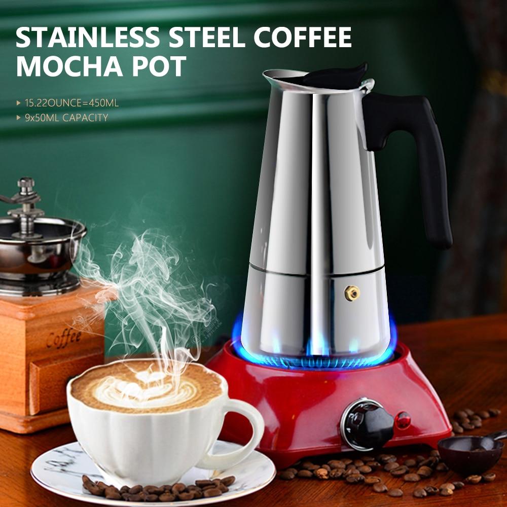 Кофейник Moka, кофейник для эспрессо, латте, Перколятор, Кофеварка, горшок для эспрессо, итальянская кофемашина 200/300/450 мл, нержавеющая сталь