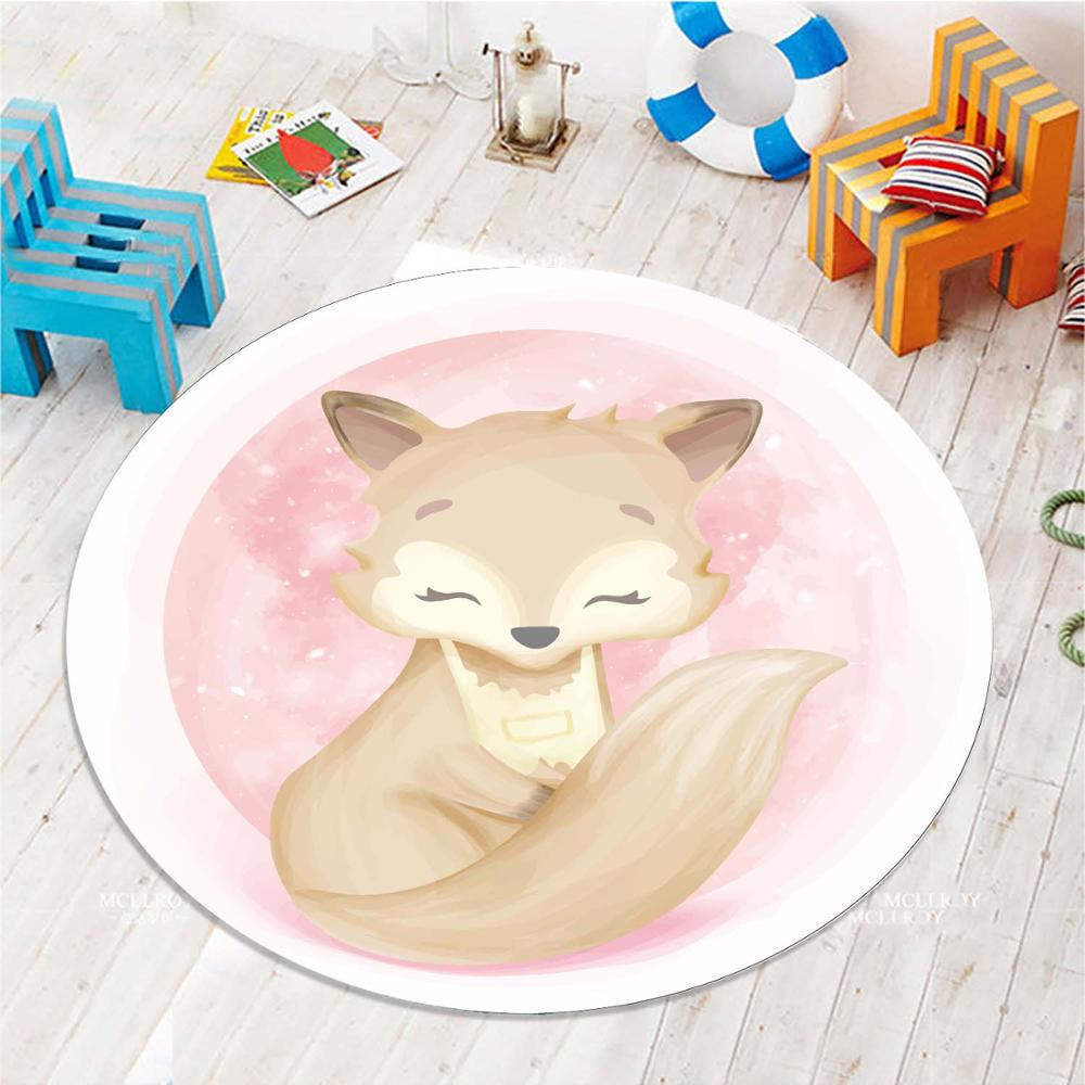 Else Pink Watercolor Brown Cute Fox 3d Pattern Print Anti Slip Back Round Carpets Area Rug For Kids Baby Children Room