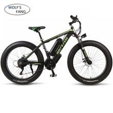 Wolfs fang bicicleta elétrica, bicicleta de liga de alumínio, bicicleta gorda ebike 36v 350w 21 velocidades novo, pneu gordo bicicleta de montanha 26 polegadas 10.4ah