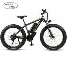 Wolfs fang دراجة كهربائية سبائك الألومنيوم الدهون دراجة ebike 36 فولت 350 واط 21 سرعة جديدة الدهون الإطارات الثلوج دراجة دراجة هوائية جبلية 26 بوصة 10.4AH