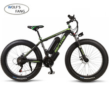 Wolfs fang vélo électrique en alliage daluminium, vélo électrique large, 36V, 350W, 21 vitesses, vélo à pneu large pour la neige, VTT 26 pouces, 10.4AH