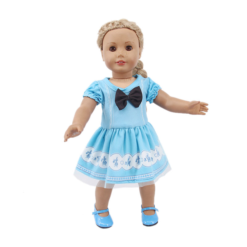 "14.5/"" Doll Clothes-fit American Girl-Wellie Wishers-Dress-Blue Frozen Sisters"