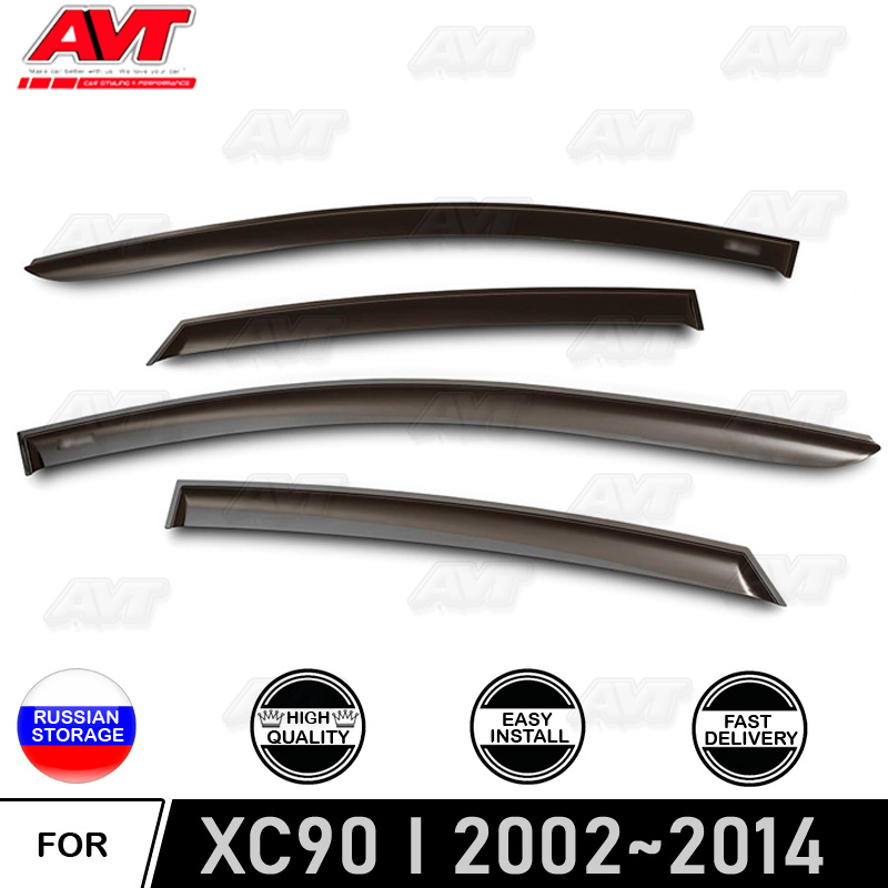 Window deflectors for <font><b>Volvo</b></font> <font><b>XC</b></font> <font><b>90</b></font> I 2002-2014 car styling wind deflector guard auto vent visor rain guards cover decoration image