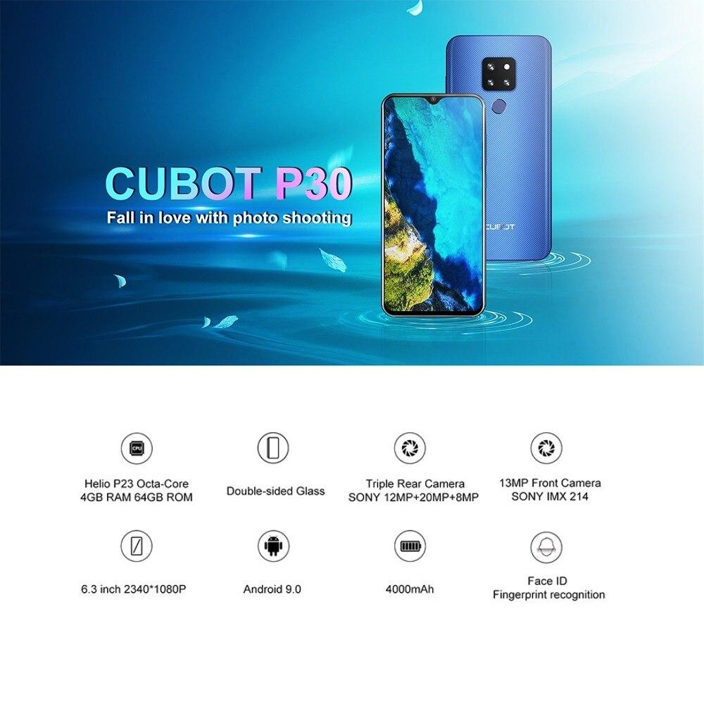Cubot p30 smartphone 6.3 2340x1080 p 4 gb + 64 gb android 9.0 torta helio p23 ai câmeras face id 4000 mah telefone celular para dropshipping - 5