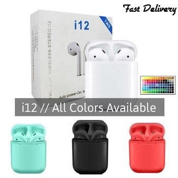 цена на i12 Bluetooth earphones set wireless headphones business headset sports earbuds suitable All smart phones Bluetooth Earphone