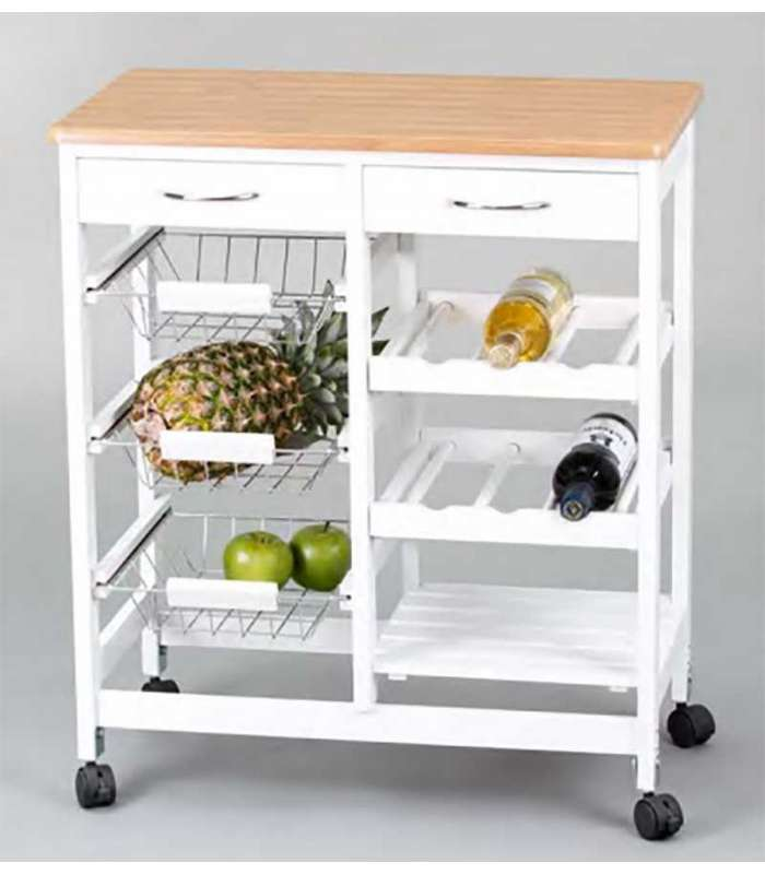 Kitchen cart full wood and white