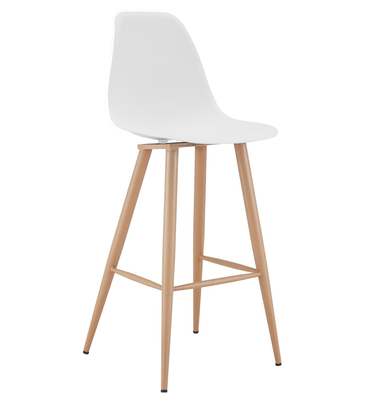 Stool CLUNY, Metal Wood Color, White Polypropylene