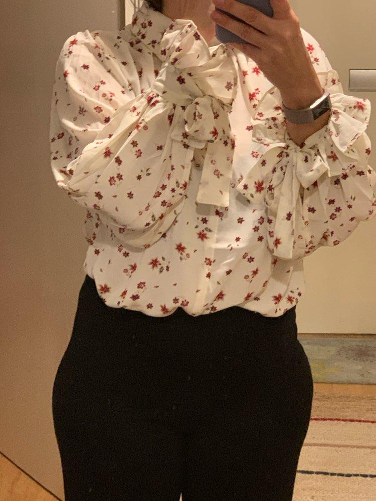Women Fashion Casual Chiffon Tops Floral Long Sleeve Blouse Ladies Korean Blouses  Mx17D4547 photo review