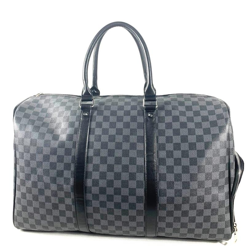 Classic Plaid Design Mens Leather Travel Bag Brand Leather Business Man Bag Overnight Tote Bags Carry On Luggage