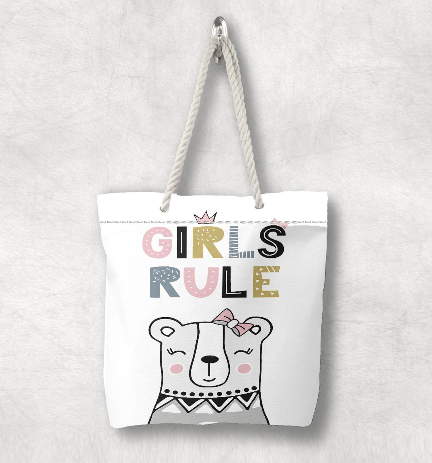 Else Girls Rule Princess Bear Nordic  Scandinavian White Rope Handle Canvas Bag  Cartoon Print Zippered Tote Bag Shoulder Bag