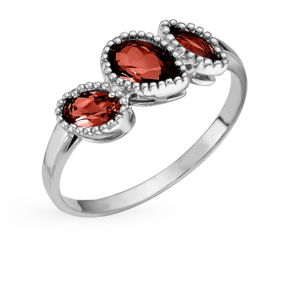 Silver Ring With Garnet SUNLIGHT Test 925