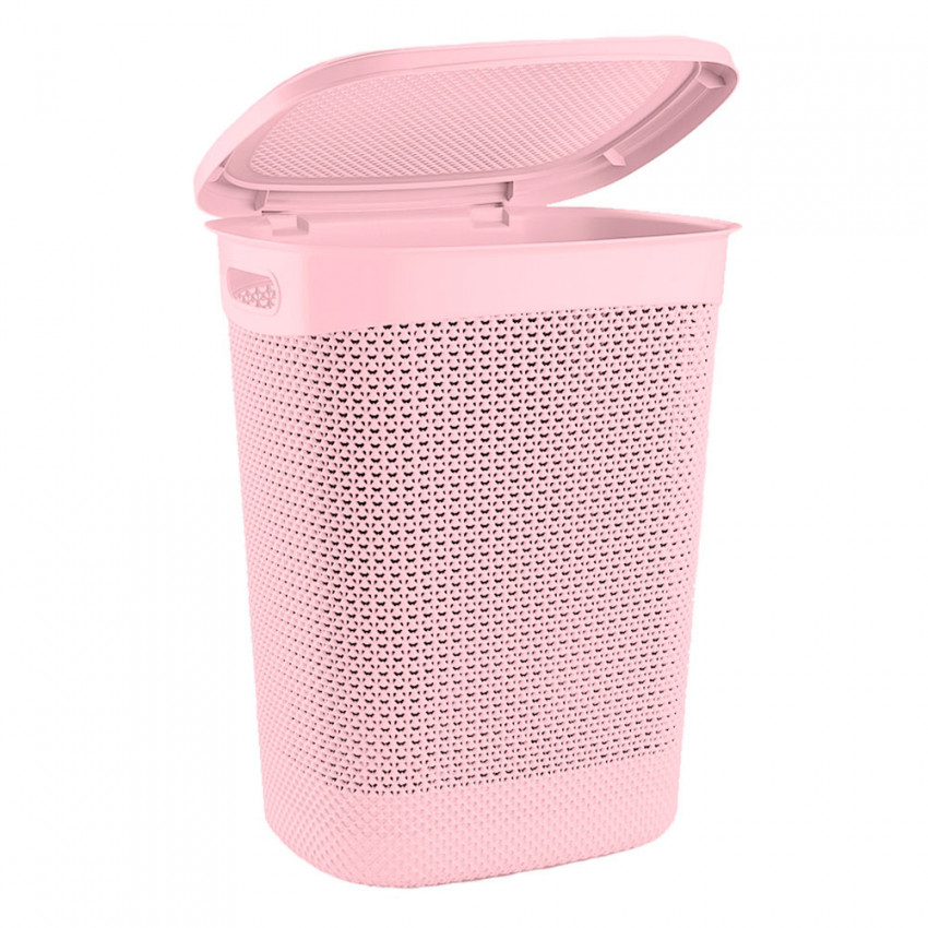 Hamper High Rectangular With Lid Pink 52 Liters 7house