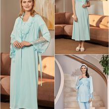 Women's Dressing Gown Postpartum Set Turquoise Color 3 Piece Set Hair Band is a Gift