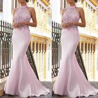 SuperKimJo Robes Pink Evening Dresses Long High Neck Beaded Mermaid Elegant Modest Evening Gown Vestido De Festa