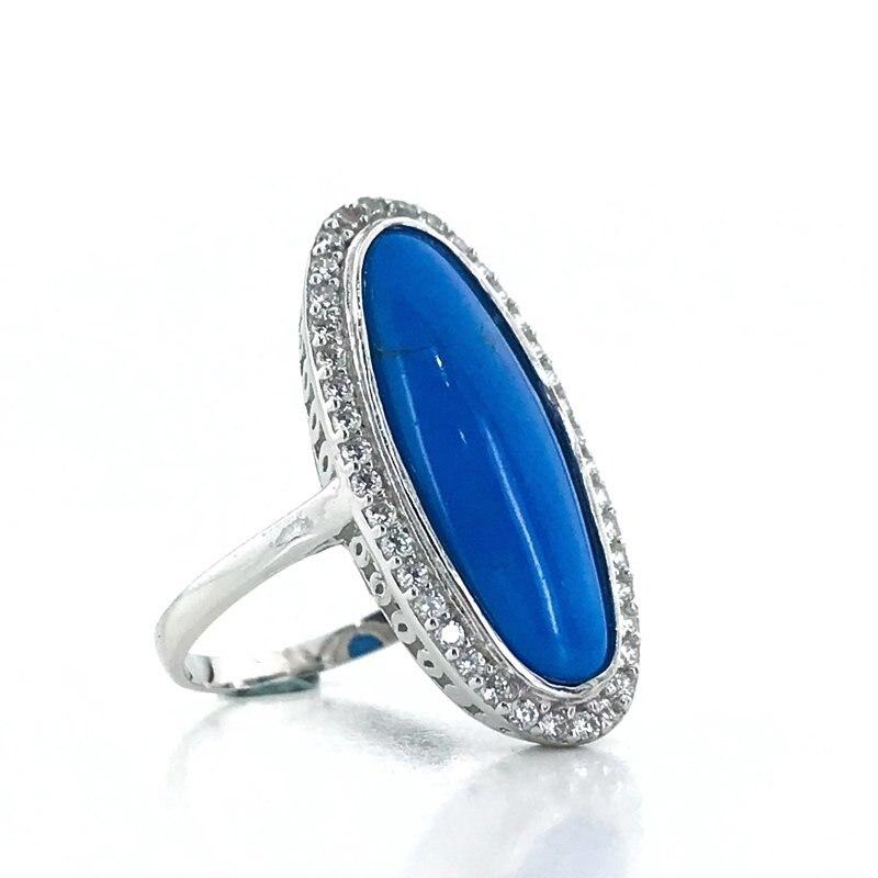 Bague en argent avec pierres précieuses Turquoise