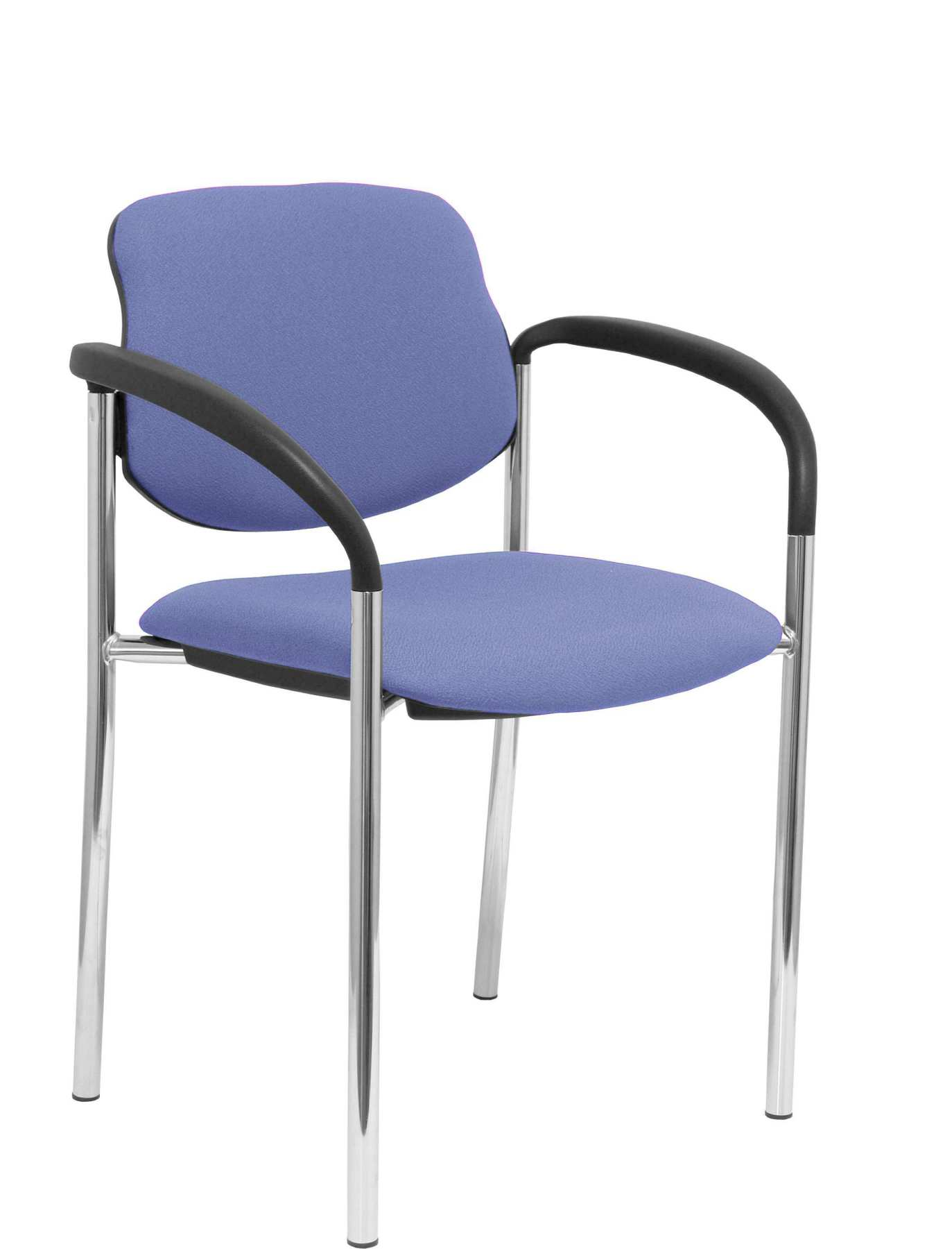 Confident Chair 4 leg and estructrua chrome arms Seat and back upholstered in fabric BALI blue color cla|  - title=