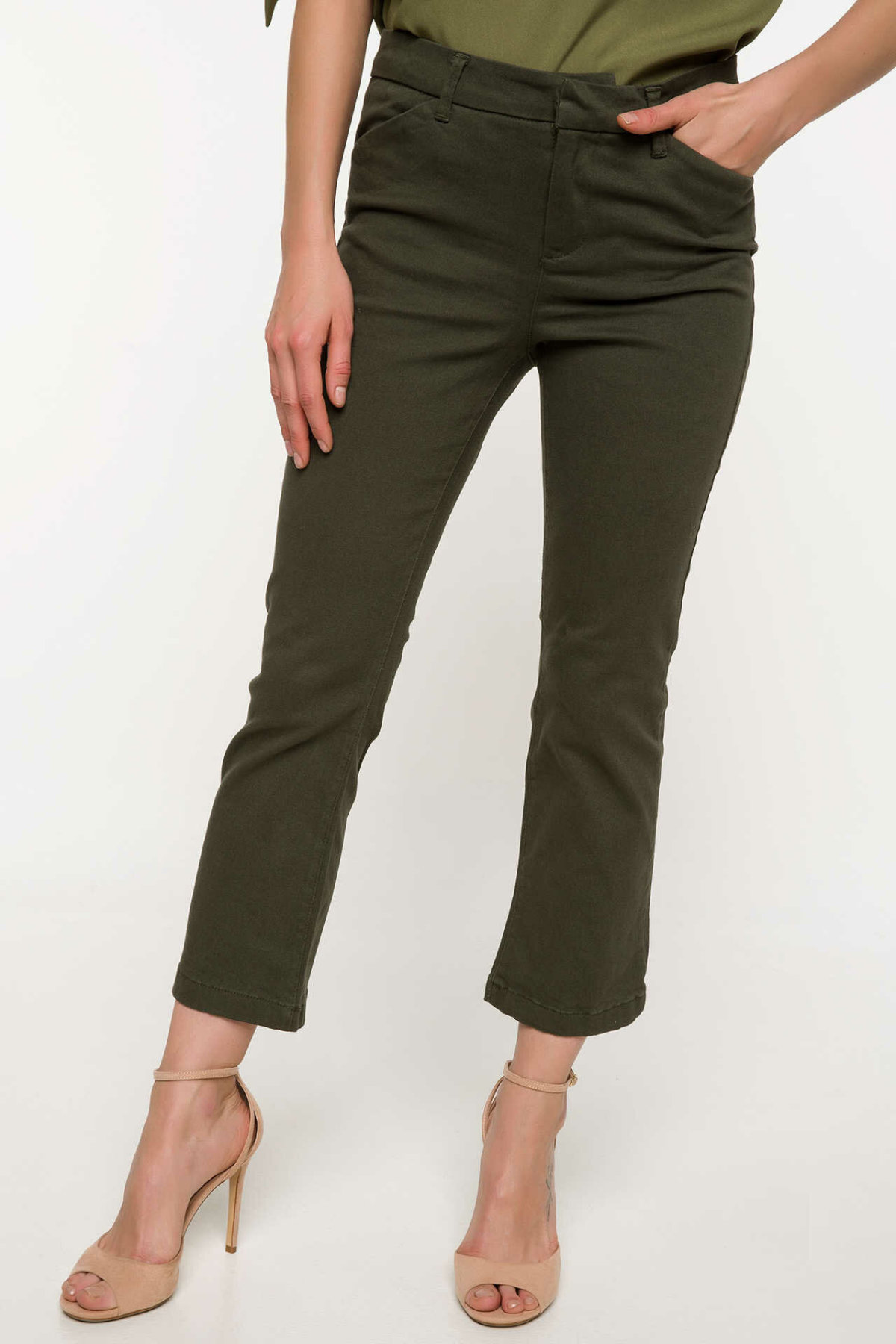 DeFacto Woman Spring Solid Color Ninth Pants Women Casual Skinny Black Army Green Long Pants Lady Bottoms Trousers-I9930AZ18SP