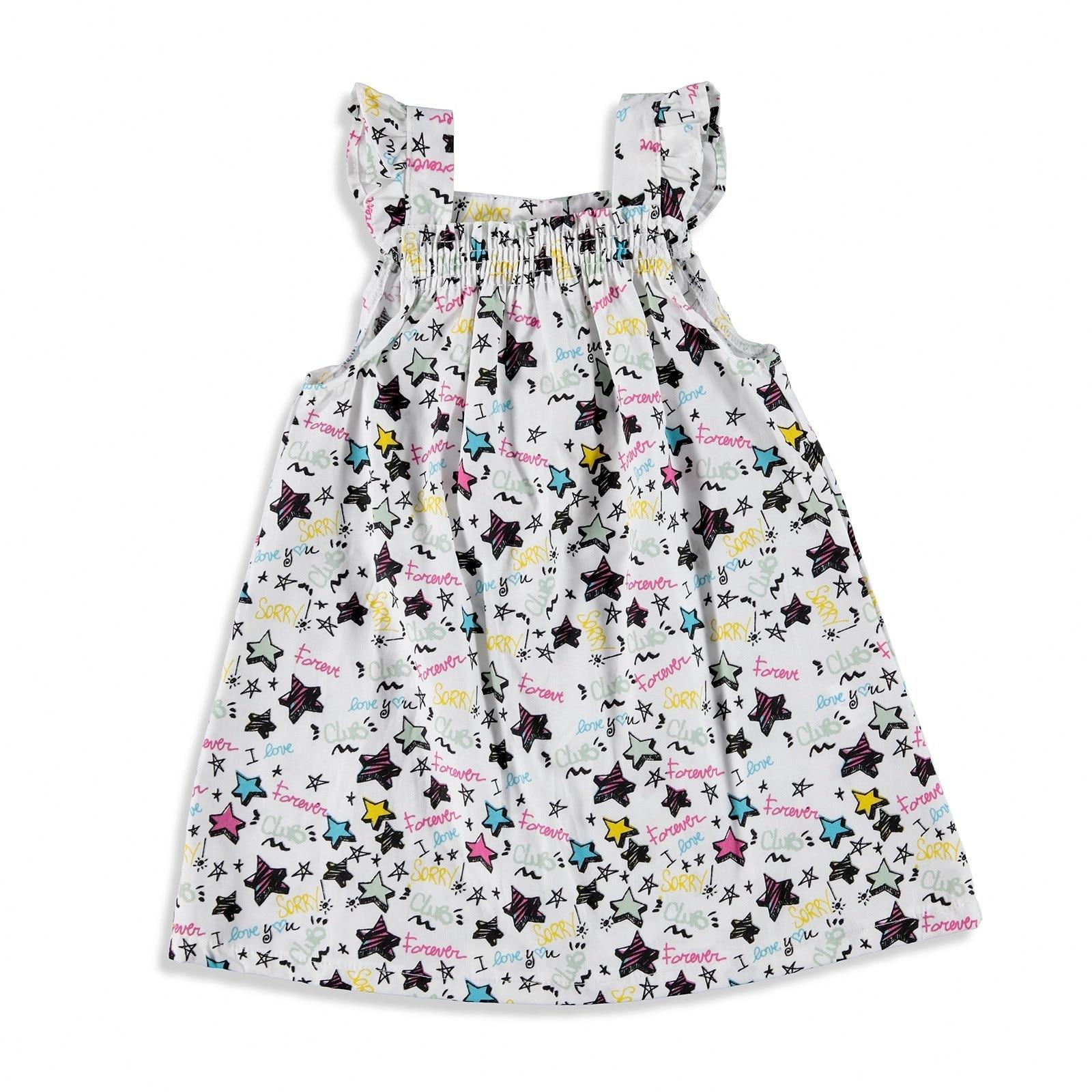 Ebebek HelloBaby Ruffled Shoulder Detailed Texture Baby Girl Dress