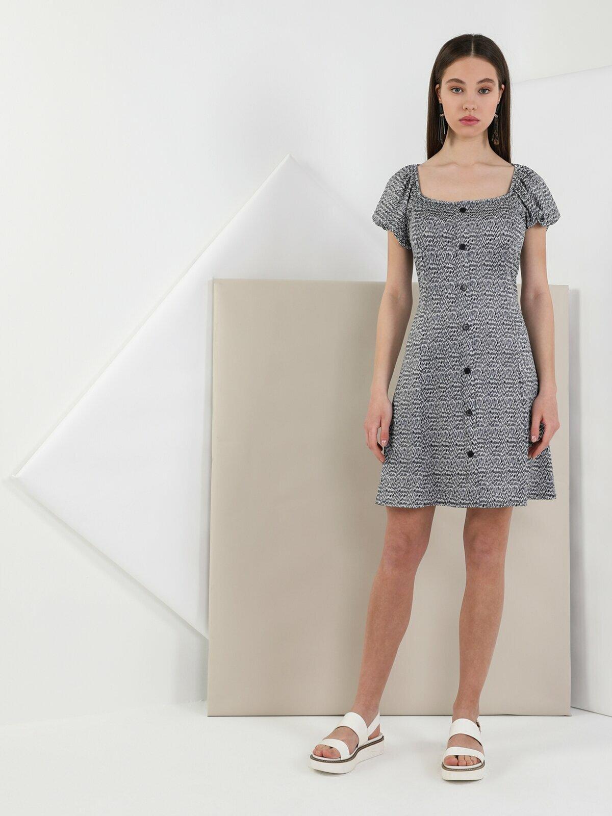 Colins Woman Regular Fit Black Dress ,CL1049537
