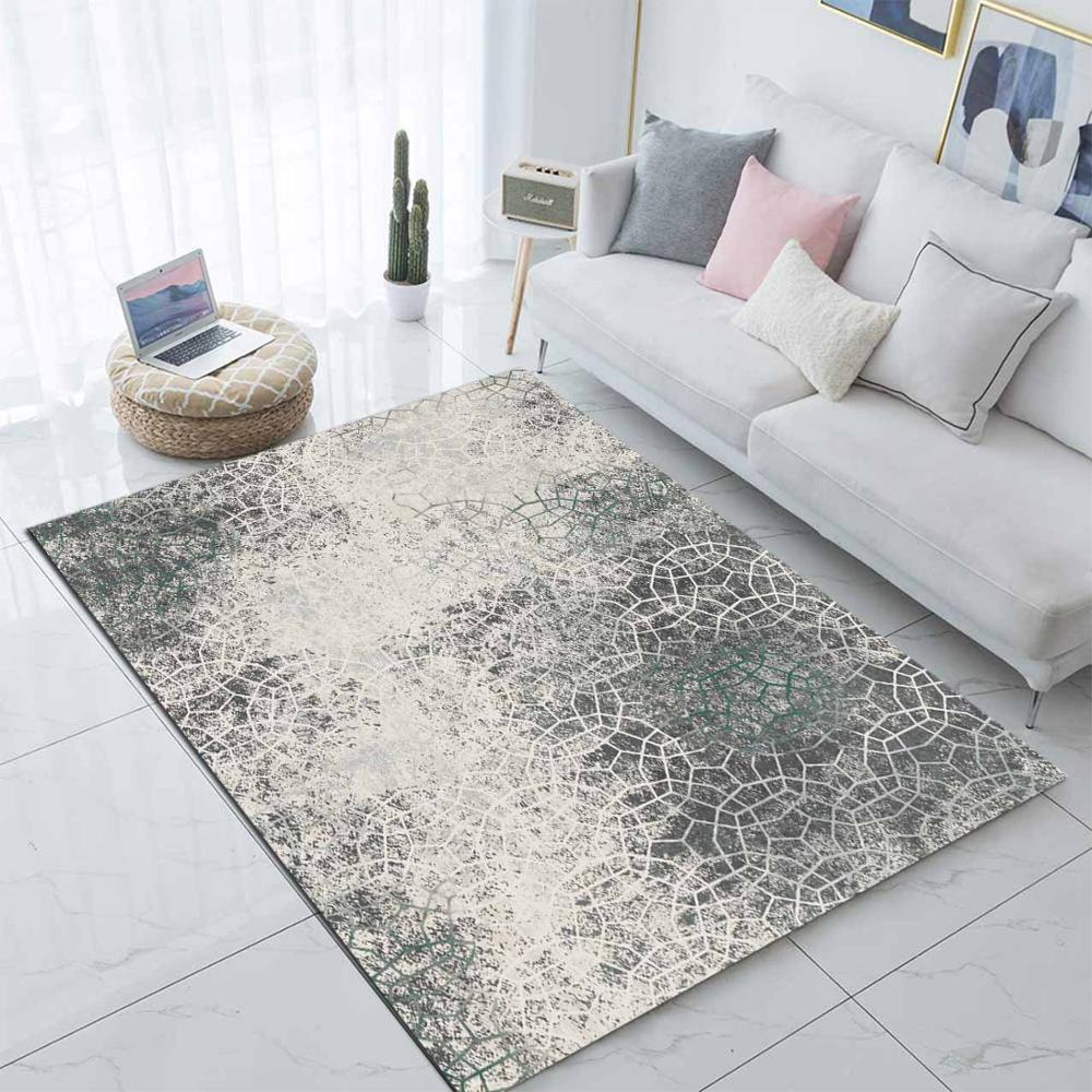 Else Gray Cream Vintage Nordec Scandinavian 3d Print Non Slip Microfiber Living Room Decorative Modern Washable Area Rug Mat
