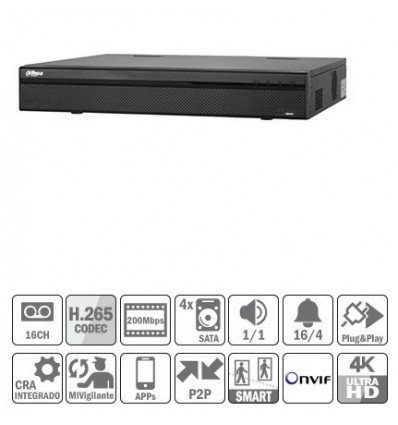 Güvenlik ve Koruma'ten Gözetleme Video Kaydedici'de Dvr kaydedici cctv nvr 16ch 200Mbps 4K H265 HDMI 16PoE 4HDD E/S Dahua