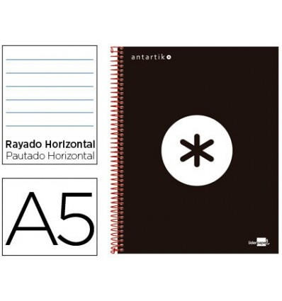 SPIRAL NOTEBOOK LEADERPAPER A5 MICRO ANTARTIK LINED TOP 120H 100 GR HORIZONTAL 5 BANDS 6 DRILLS COLOR BLACK