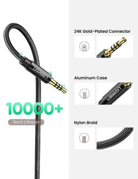 UGREEN 3.5mm Male to Female Extension Cable with Microphone Stereo Audio Adapter Compatible for iPhone iPad Smartphones Tablet 6