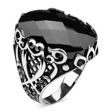 925 Sterling Silver Facet Cut Black Zircon Stone Men's Ring with Zufiqar Sword Motifs Exclusive Ring for Men()