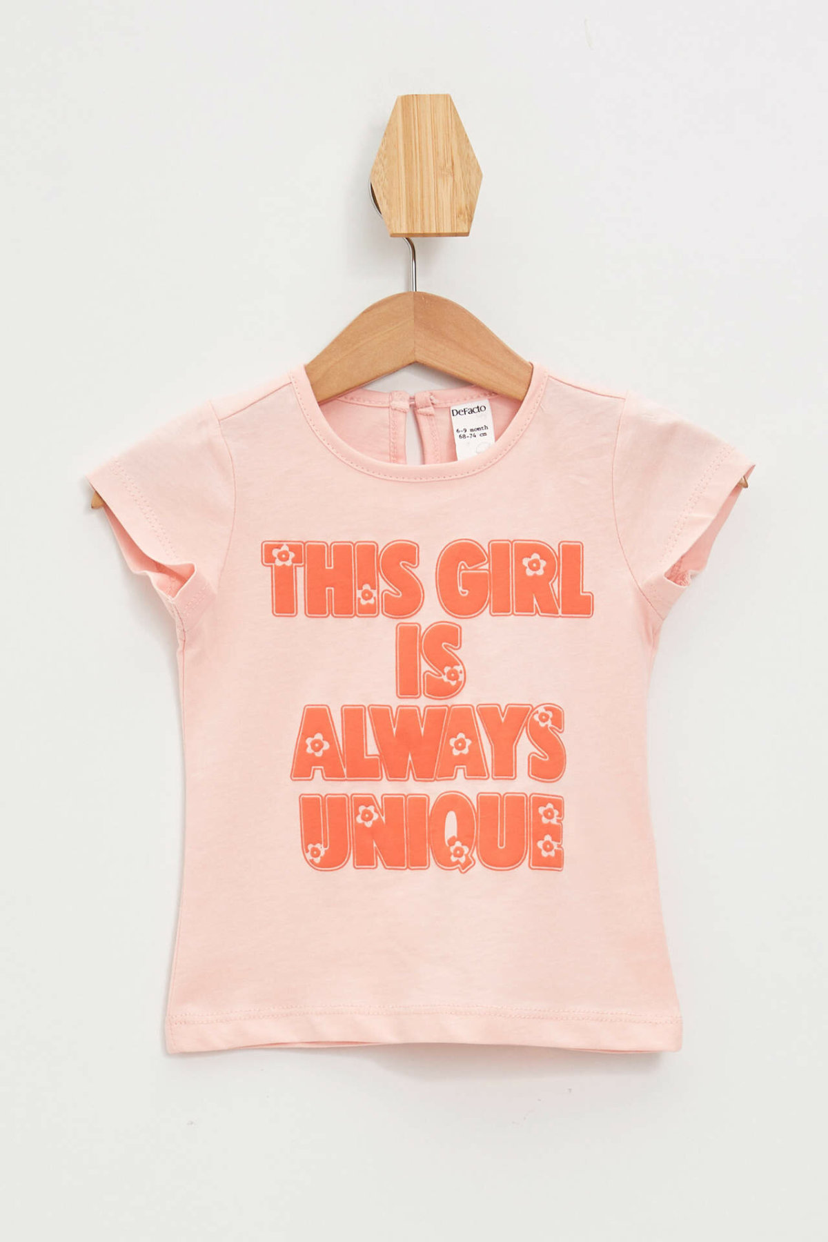 DeFacto Fashion BabyGirl Short Sleeve Kids Casual O-neck Letter Pattern T-shirt Loose Comfortable Tops Simple  - L0363A219SM