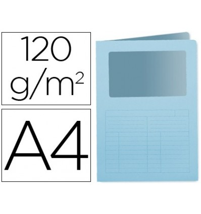 SUBFOLDER CARDBOARD Q-CONNECT DIN A4 BLUE WITH CLEAR WINDOW 120 GR 50 Pcs