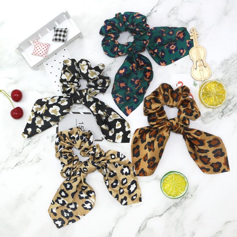 Fashion Rabblit Ear Knotted Turban Hairband Elastic Hair Rope Women Leopard Hair Ring Female Hair Accessories
