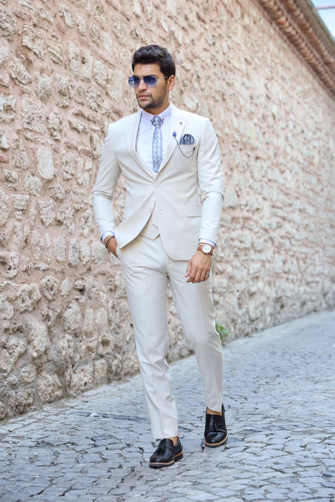 PAREZ Krem Slim Fit Erkek Takım Elbise