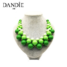 Dandie Colorful Acrylic Bead Necklace, Fashion Jewelry Bib Necklace For Women Jewelry dandie black acrylic bead fashion necklace jewelry short statement necklace