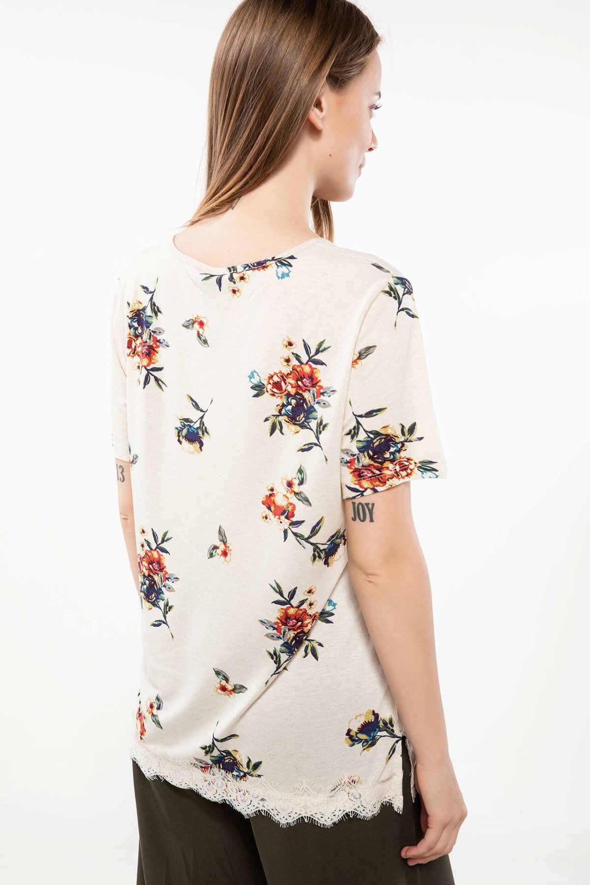DeFacto Zomer Vrouw Mode Korte Mouw Lady O-hals Casual T-Shirt Vrouwelijke Harajuku Losse Print Tops Nieuwe-J7787AZ18HS